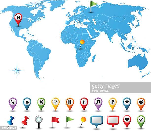 world map with pins - straight pin stock illustrations, clip art, cartoons, & icons