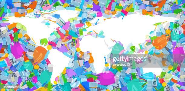 プラスチック廃棄物が海に世界地図 - プラスチック汚染点のイラスト素材/クリップアート素材/マンガ素材/アイコン素材