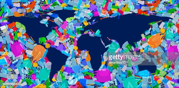 world map with plastic waste oceans - water pollution stock illustrations