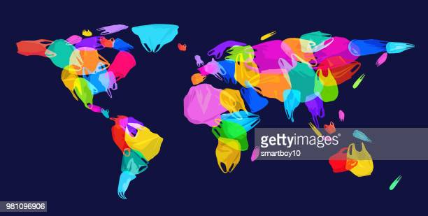 world map with plastic waste - water pollution stock illustrations