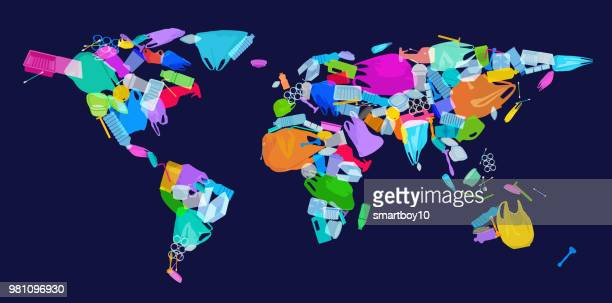 world map with plastic waste - plastic stock illustrations