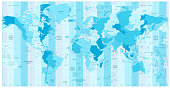 World Map with Standard Time Zones in colors of blue