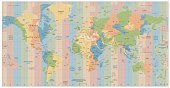 World Map with Standard Time Zones