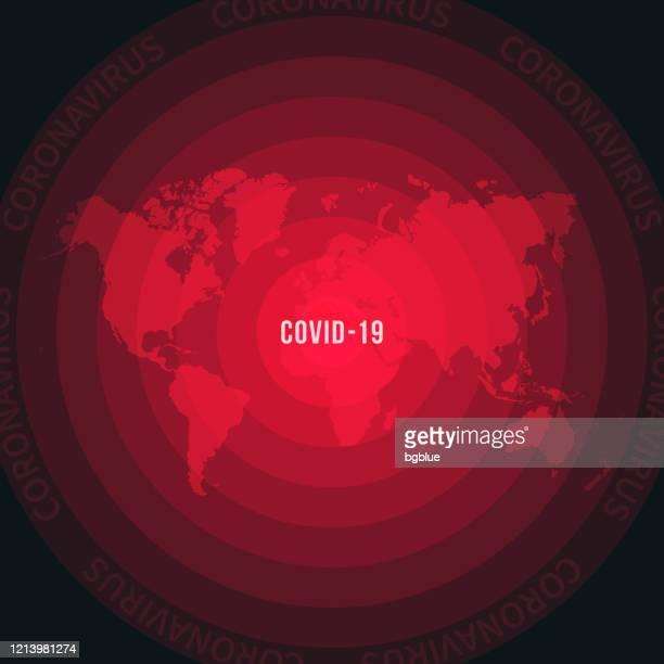 covid-19の普及を伴う世界地図。コロナウイルスの流行 - パンデミック点のイラスト素材/クリップアート素材/マンガ素材/アイコン素材