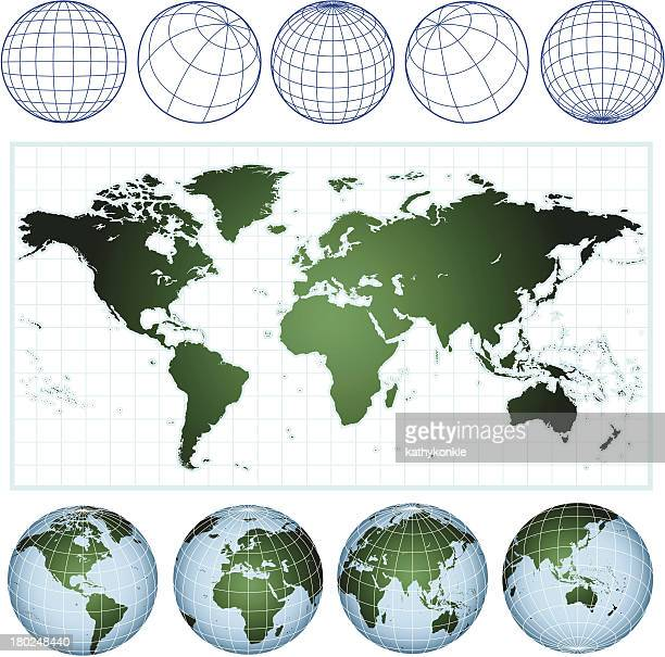 world map with wireframe globes - latitude stock illustrations
