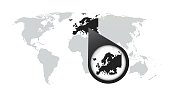 World map with zoom on Europe. Map in loupe. Vector illustration in flat style