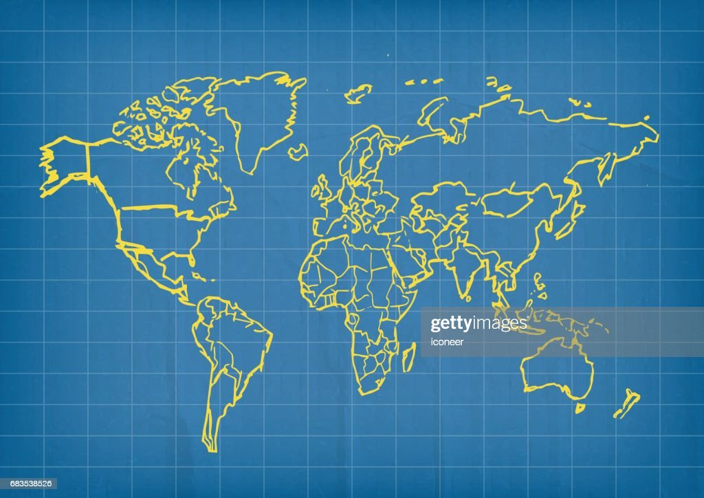World map yellow outline on blue background vector art getty images world map yellow outline on blue background vector art gumiabroncs Image collections