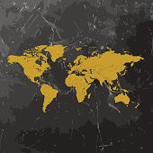 World Map yellow sketched on dark chalkboard background