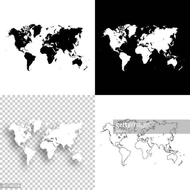 illustrazioni stock, clip art, cartoni animati e icone di tendenza di world maps for design - blank, white and black backgrounds - europa continente