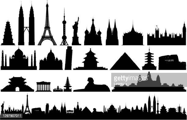 world monuments and skyline (all buildings are complete, detailed and moveable) - palace stock illustrations