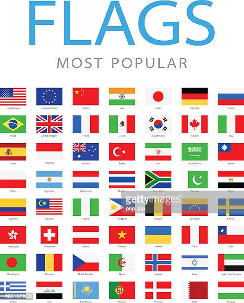world most popular flags - illustration - flag stock illustrations