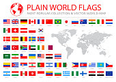 World Most Popular Flags with world map - Illustration