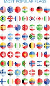 World Most Popular Flat Round Flags - Illustration