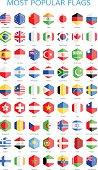 World Most Popular Hexagonal Flags - Illustration
