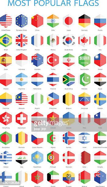 World Most Popular Hexagonal Flags - Illustration