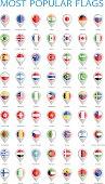 World Most Popular Round Flag Pins - Illustration