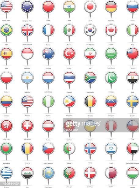 world most popular round flag pins - illustration - straight pin stock illustrations, clip art, cartoons, & icons