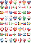 World Most Popular Round Flags - Illustration