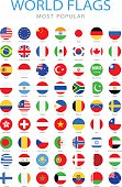 World Most Popular Rounded Flags - Illustration