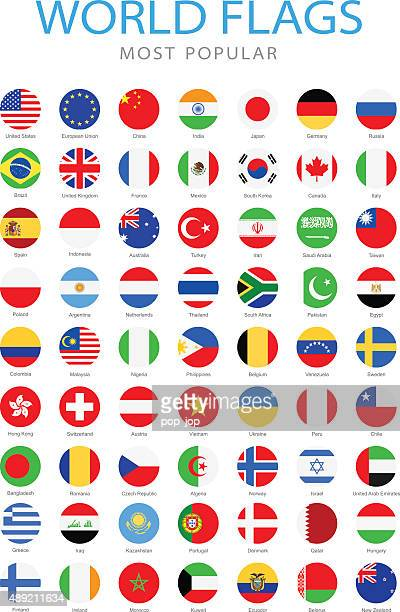 world most popular rounded flags - illustration - circle stock illustrations