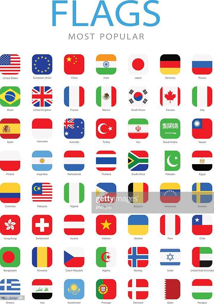 World Most Popular Square Flag Icons - Illustration