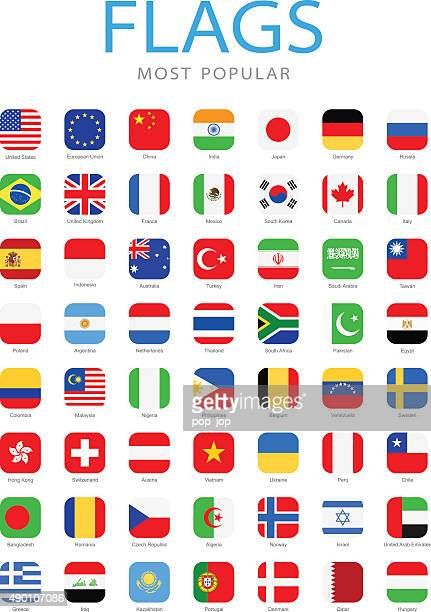 world most popular square flag icons - illustration - square composition stock illustrations, clip art, cartoons, & icons