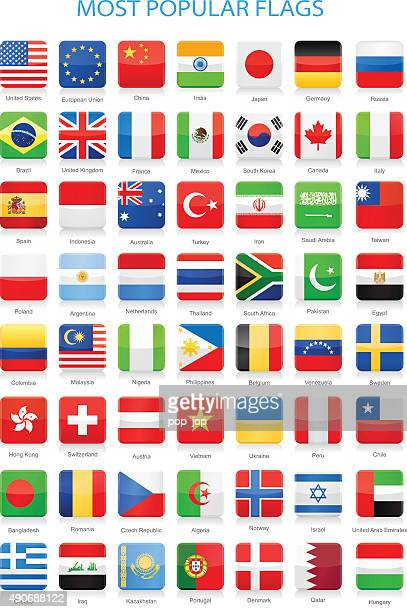 World Most Popular Square Flags - Illustration