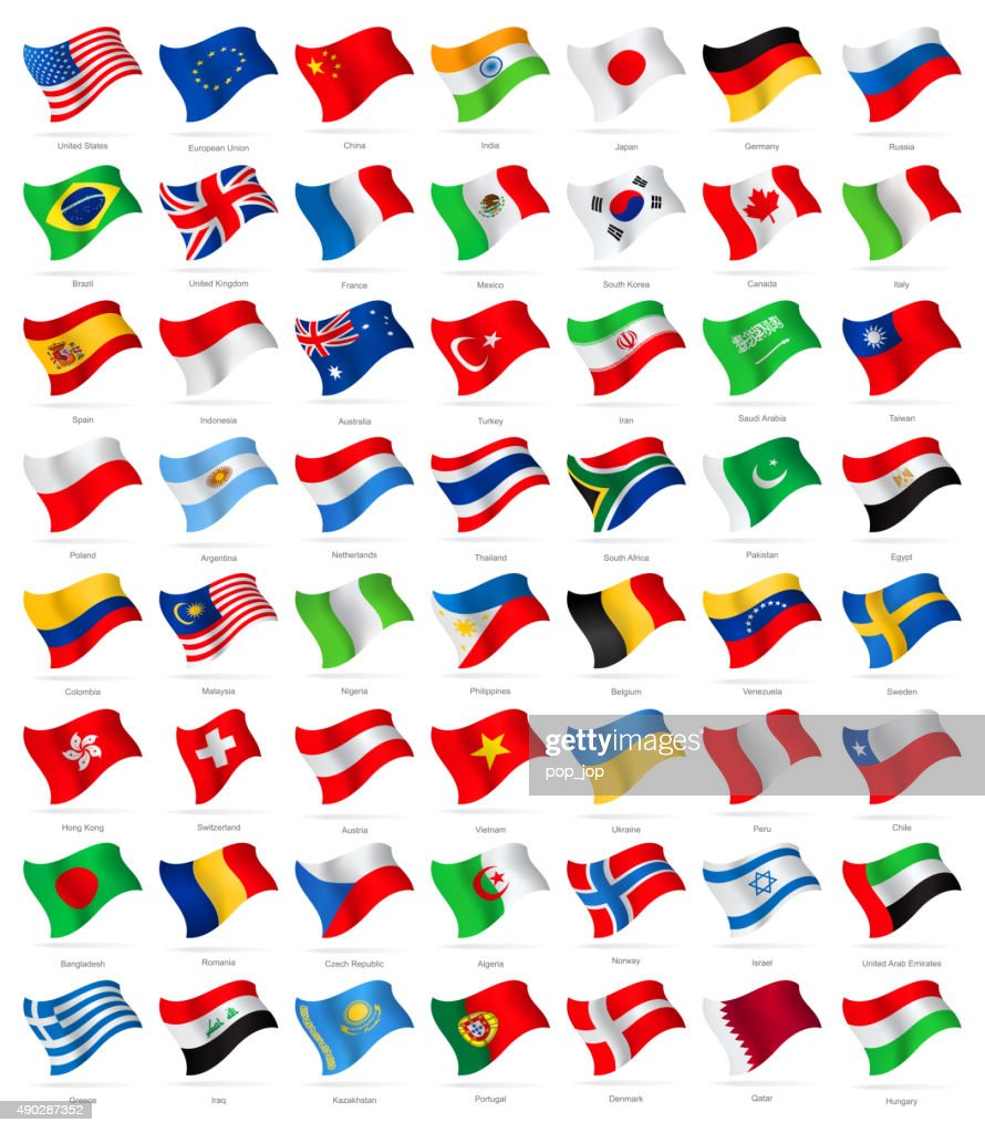 World Most Popular Waving Flags - Illustration