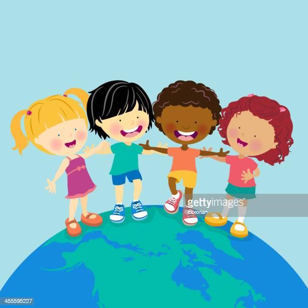ilustraciones, imágenes clip art, dibujos animados e iconos de stock de world multiétnico de niños - amigas