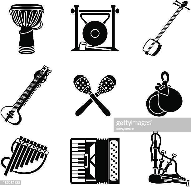 ilustrações de stock, clip art, desenhos animados e ícones de ícones de música do mundo - vangen