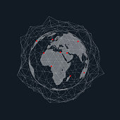 World network connection vector illustration with abstract polygonal wireframe net and red points