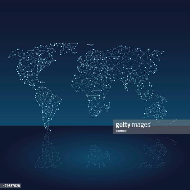 World network map on dark blue background