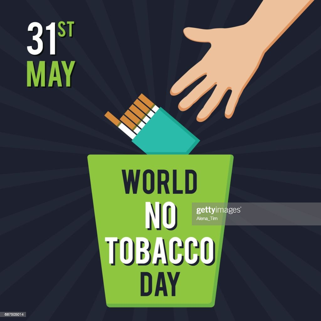 World No Tobacco Day. Illustration for the holiday. A man throws a pack of cigarettes into the trash.
