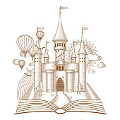 World of tales, fairy castle appearing from the old book