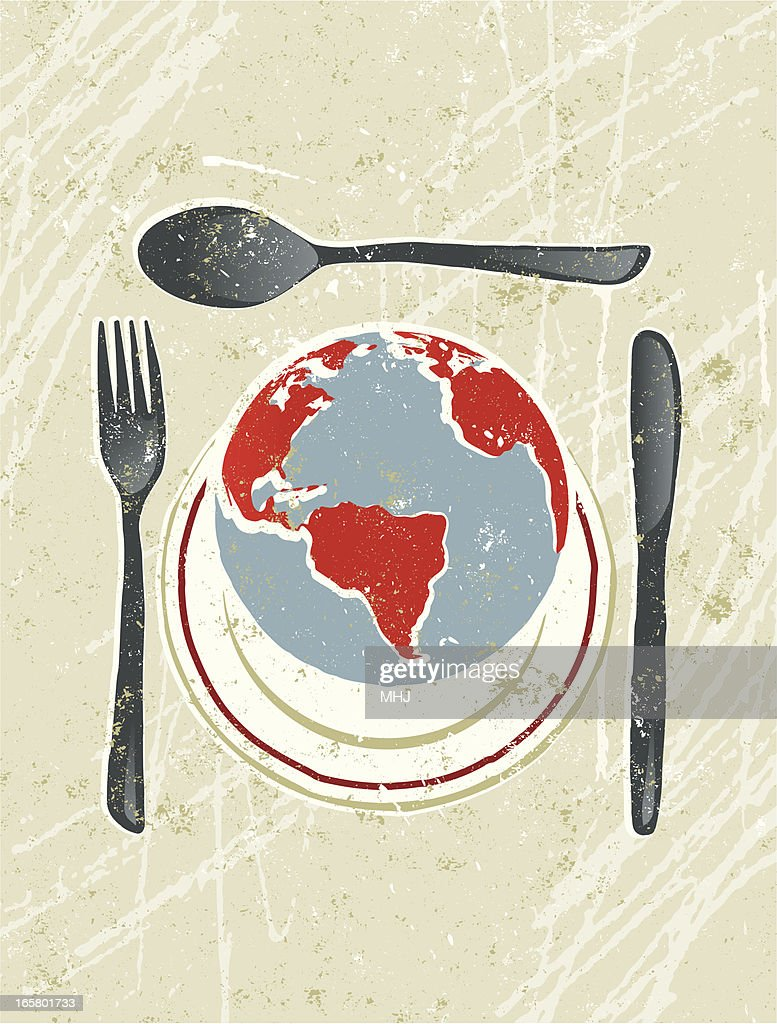 World on a plate with knife, Fork and Spoon : stock illustration