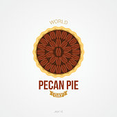 World Pecan Pie Day Vector Illustration