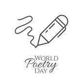 World poetry day banner with outline pen and written line isolated on white background.