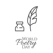 World poetry day banner with thin line feather and inkwell isolated on white background.