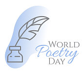 World poetry day banner with thin line inkwell and feather in it on blue background.