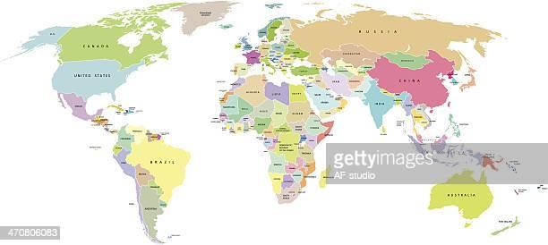 politische karte der welt - politik stock-grafiken, -clipart, -cartoons und -symbole