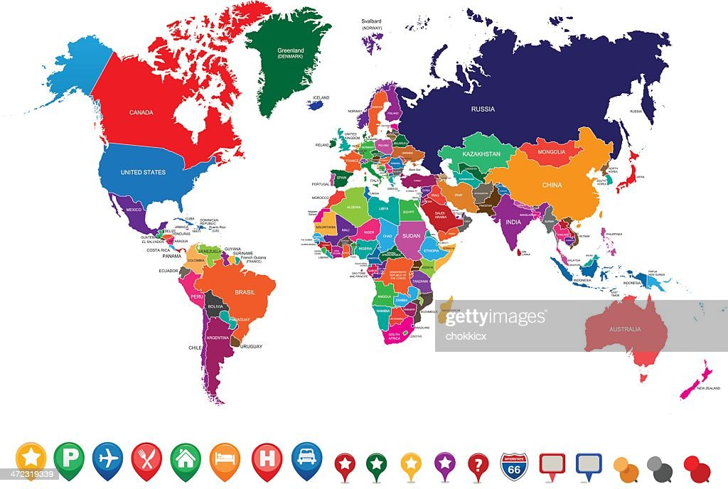 World Map Gps.World Political Map With Gps Pointer Icons Vector Art Getty Images