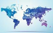 World Polygon Triangle Map Blue