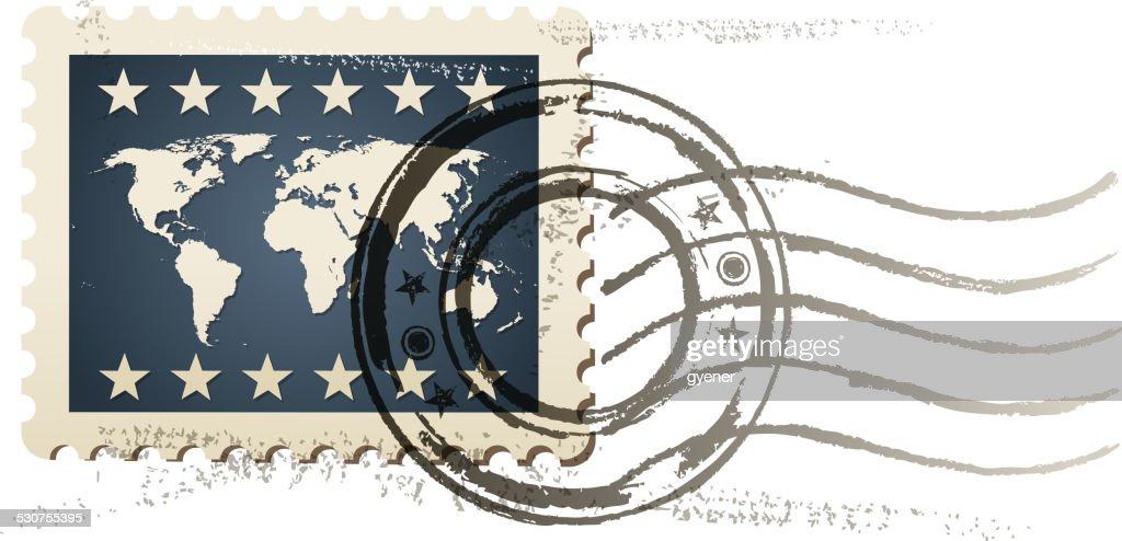 world postage stamp