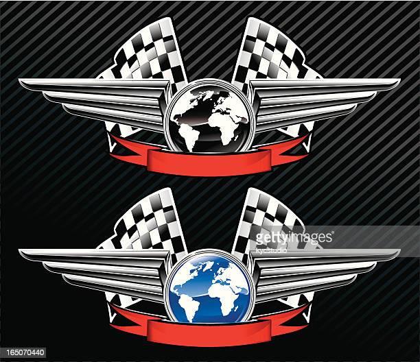 world racing emblems - chrome stock illustrations, clip art, cartoons, & icons