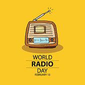 World radio day concept. February 13.