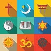 World religion symbols flat set - christian, Jewish, Islam, Buddhism