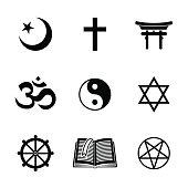 World religion symbols set with - christian, Jewish, Islam, Buddhism