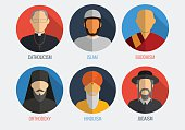 World religions monk people icons. Flat design style. Vector