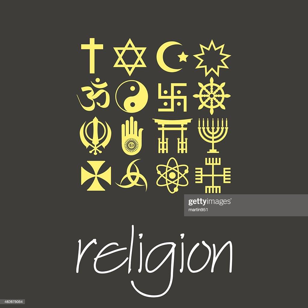 world religions symbols vector set of green icons  eps10