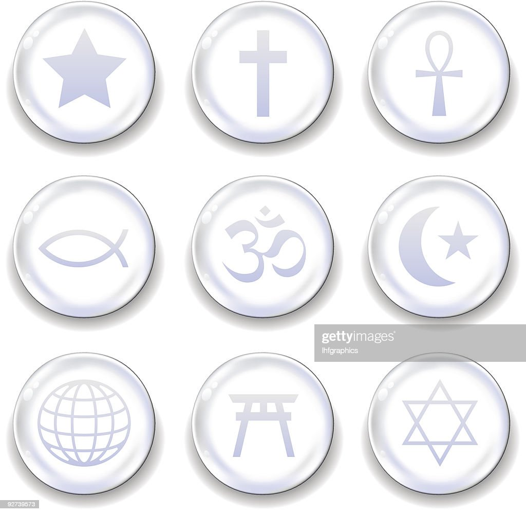 World religious symbol icon set